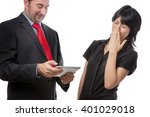 Small photo of Studio shot showing co worker holding a mobile device with bad breath, isolated on white