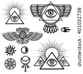 set of esoteric symbols  wings  ... | Shutterstock .eps vector #401032738