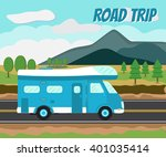 camper car on a road and... | Shutterstock .eps vector #401035414