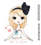 cute girl fashion girl romantic ... | Shutterstock .eps vector #401042410