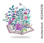 watercolor floral and nature... | Shutterstock . vector #401044258