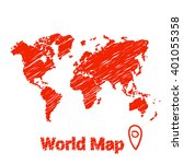 vector map of the world drawing ... | Shutterstock .eps vector #401055358
