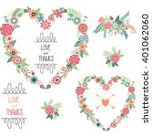 wedding floral.love and thanks... | Shutterstock .eps vector #401062060