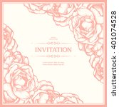 elegant roses frame. vector... | Shutterstock .eps vector #401074528