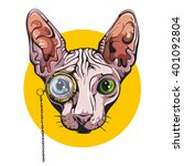 vector sphinx cat vintage | Shutterstock .eps vector #401092804