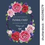 vintage floral greeting card... | Shutterstock . vector #401098279