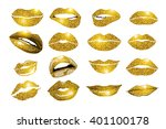 lips gold set. design glitter... | Shutterstock .eps vector #401100178