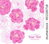 vector  peonies  flowers frame... | Shutterstock .eps vector #401100718