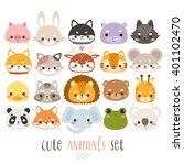 Big Set Illustrations Of Cute...