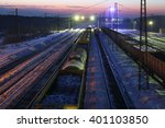 Top View Of Freight Train With...