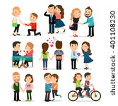 couples in love set. lovers man ... | Shutterstock .eps vector #401108230
