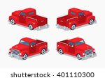 Red Retro Pickup. 3d Lowpoly...