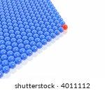 red leader of blue balls group  ... | Shutterstock . vector #4011112