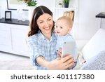 beautiful woman make selfie on... | Shutterstock . vector #401117380