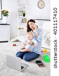 beautiful woman with baby boy... | Shutterstock . vector #401117410