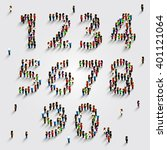 large group of people in number ... | Shutterstock .eps vector #401121064