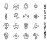 flower icons set. modern thin... | Shutterstock . vector #401125138
