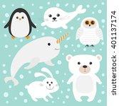 arctic polar animal set. white... | Shutterstock . vector #401137174