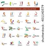vector line ribbon logo set.... | Shutterstock .eps vector #401140579