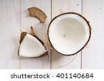 coconut with shell on white... | Shutterstock . vector #401140684