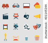 cinema icons flat. making film... | Shutterstock .eps vector #401145244