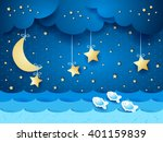 surreal seascape with moon and... | Shutterstock .eps vector #401159839