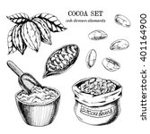 vector cocoa set on white... | Shutterstock .eps vector #401164900