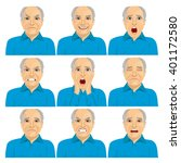 collection of senior adult bald ... | Shutterstock .eps vector #401172580