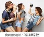 happy girls friends taking some ... | Shutterstock . vector #401185759