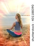 woman meditating in the sitting ...   Shutterstock . vector #401188390