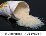 white jasmine rice on black...   Shutterstock . vector #401196364