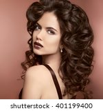 lips. makeup. curly hairstyle.... | Shutterstock . vector #401199400