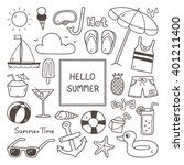 summer doodles. summer icon set. | Shutterstock .eps vector #401211400