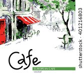 European Cafe  Graphic Drawing...
