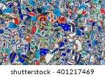 broken ceramics in wall... | Shutterstock . vector #401217469