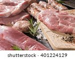 fresh raw minced meat with an...   Shutterstock . vector #401224129