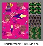 retro vintage 80 memphis style... | Shutterstock .eps vector #401235526