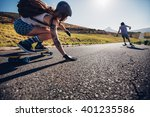 young woman skating with her... | Shutterstock . vector #401235586