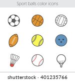 sport balls color icons set.... | Shutterstock .eps vector #401235766