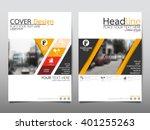 yellow annual report brochure... | Shutterstock .eps vector #401255263