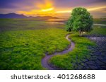 landscape of trees with the... | Shutterstock . vector #401268688