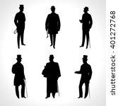 Set Of Male Silhouettes Retro...
