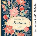 vintage invitation or wedding... | Shutterstock .eps vector #401282434