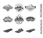 set of snowboarding badges | Shutterstock . vector #401285686
