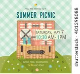 vector family picnic glade card.... | Shutterstock .eps vector #401298088
