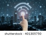 finger push wifi icon and blue... | Shutterstock . vector #401305750