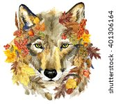Watercolor Wolf. Forest Animal...