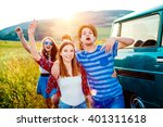 young frieds with campervan ... | Shutterstock . vector #401311618