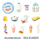 set of cartoon food  dairy... | Shutterstock .eps vector #401314003