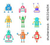vector set of retro robots.... | Shutterstock .eps vector #401314654